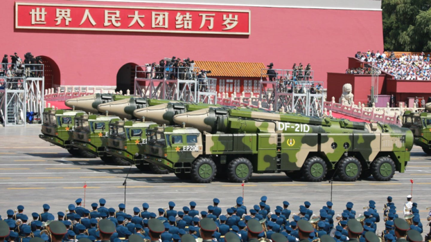 '항공모함 킬러' DF21-D 지대함 탄도미사일을 앞세운 중국 인민해방군의 퍼레이드 모습. /트위터 캡처