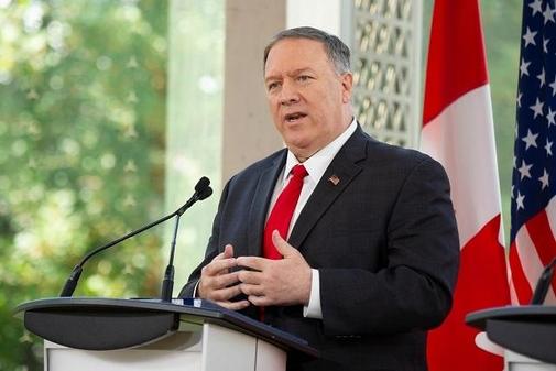 마이크 폼페이오 미 국무장관이 22일 캐나다 오타와에서 기자회견을 하고 있다. /AFP 연합뉴스