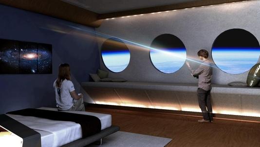 '세계 최초 우주 호텔'의 모습을 가정한 사진. 해당 호텔은 2025년에 출범하는 것이 목표다. / 트위터 캡처