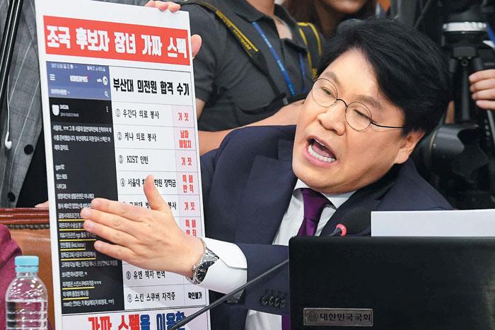 자유한국당 장제원 의원이 6일 국회 인사청문회에서 조국 후보자 딸의 부산대 의전원 원서에 기재된 '허위 이력' 관련 질의를 하고 있다.