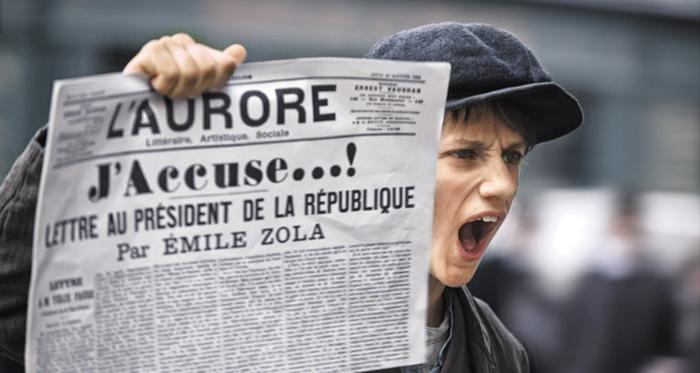올해 심사위원대상을 받은 감독 로만 폴란스키(작은 사진)의 '장교와 스파이'. 프랑스어 제목은 'J'accuse(나는 고발한다)'다. 프랑스 작가 에밀 졸라가 드레퓌스의 무죄를 폭로한 글의 제목이기도 하다.