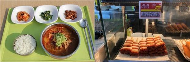덕평휴게소 소고기국밥(왼쪽)과 안성휴게소 소떡소떡. /한국도로공사·독자 제공