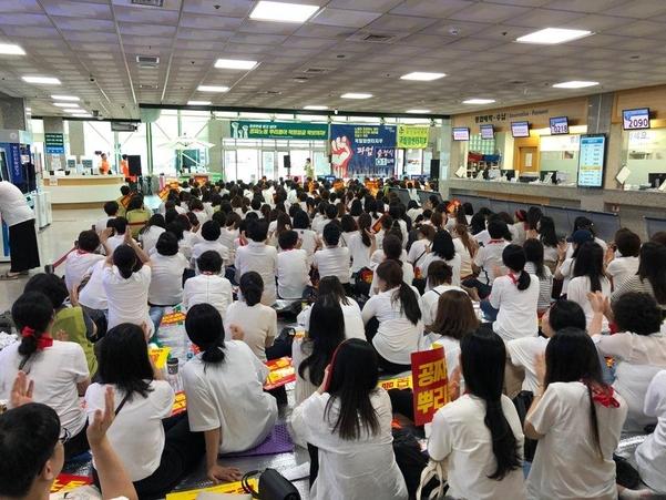 지난 6일 국립암센터 노조가 병원 설립 18년  만에 첫 파업에 돌입했다. / 박진우 기자