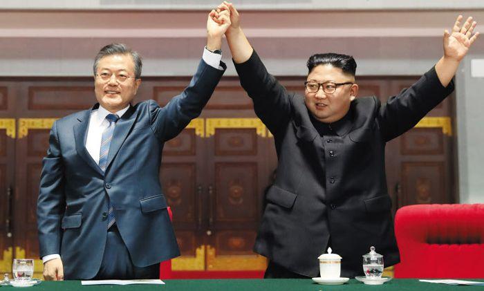 문재인 대통령과 북한 김정은 국무위원장