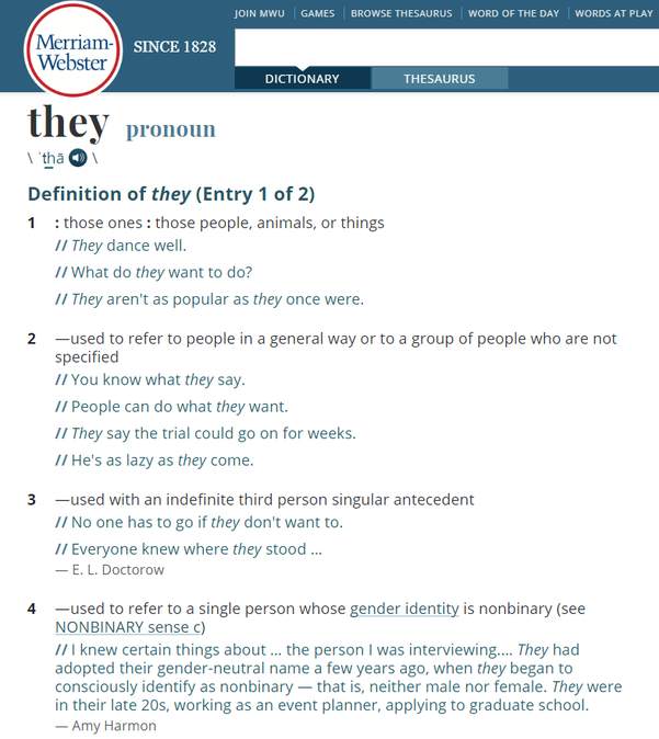 메리엄-웹스터가 'they'에 '남성이나 여성이 아닌 제3의 성(性)을 가진 개인을 지칭하는 단수 대명사'라는 네 번째 정의를 추가했다. /메리엄-웹스터 홈페이지 캡처