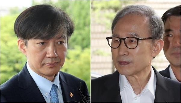 조국(왼쪽) 법무장관과 이명박 전 대통령./연합뉴스