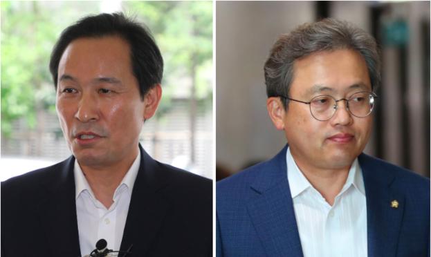 더불어민주당 우상호(왼쪽) 의원과 송기헌 의원.