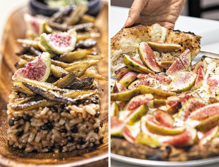 왼쪽부터 '베이스 이즈 나이스'의 '건무화과를 올린 햇우엉구이밥', 리코타 치즈와 모짜렐라치즈를 깔고 무화과를 썰어 올린 '경일옥 핏제리아'의 피자.