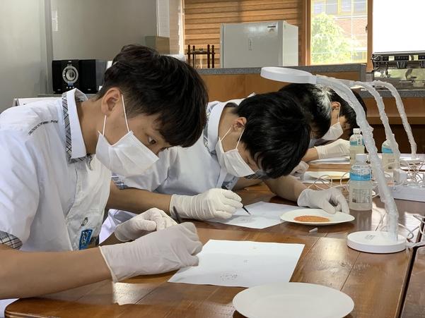 경기도교육청 산하 남양주 경은학교는 올해 중증장애학생을 대상으로 산림지원가를 양성하는 취업 프로그램을 개발해 운영하고 있다. 사진은 지난 3월 해당 취업프로그램에 참가해 교육을 받고있는 학생들의 모습. /경기도교육청 제공