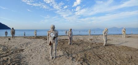 오는 27일까지 열리는 '2019 바다미술제'에 출품된 이승수 작가의 '어디로 가야 하는가'. 부산 사하구 다대동 다대포해수욕장 백사장에 설치돼 있다. / 바다미술제 조직위 제공