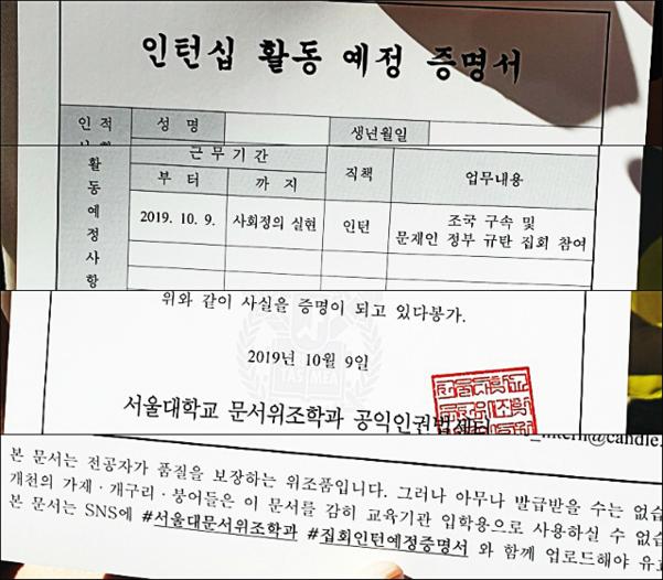 9일 서울대 광화문집회 추진위가 배부한 인턴십 활동 예정 증명서의 주요 문구. /박소정 기자