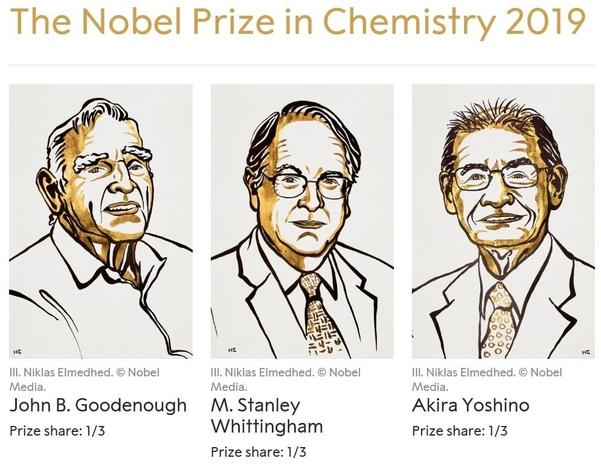 왼쪽부터 올해 노벨화학상 수상자인 존 굿이너프, 스탠리 휘팅엄, 요시노 아키라/노벨상 홈페이지