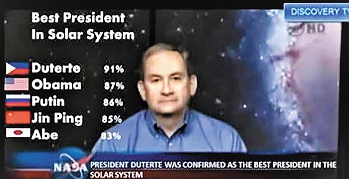 지난 2016년 필리핀 두테르테 대통령 지지자가 페이스북에 올린 '미 항공우주국(NASA)이 두테르테 대통령을 태양계 최고의 지도자라고 발표했다'는 내용의 사진.