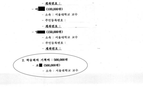 2009년 5월 15일 서울대학교 공익인권법센터에서 주최한 '동북아시아의 사형제도' 학술대회의 운영경비 내역 중 조국 법무장관에게 '기획비' 명목으로 50만원이 지급된 내역./자유한국당 유한홍 의원실 제공