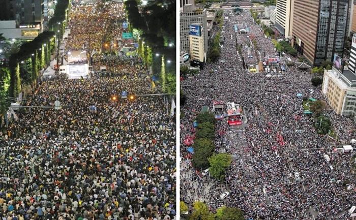 지난달 28일 서울 서초동에서 열린 촛불집회(왼쪽 사진)와 지난 3일 서울 광화문 일대에서 열린 태극기 집회 현장. 빅데이터를 이용해 규모를 비교해보니 광화문 집회가 서초동 집회보다 4배가량 컸다.조선일보 DB