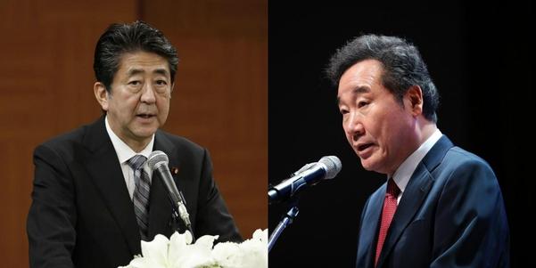아베 신조 일본 총리(왼쪽)와 이낙연 국무총리/연합뉴스