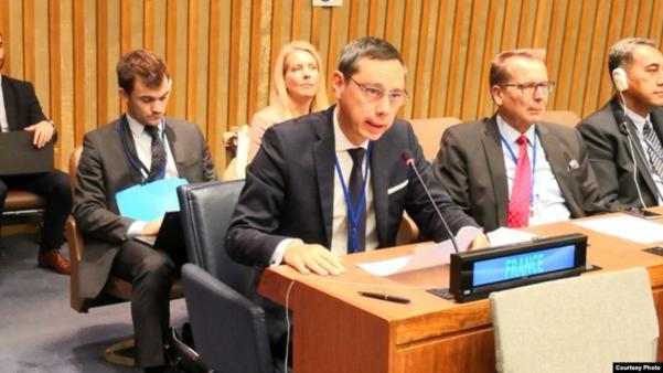 얀 후앙 유엔주재 프랑스대표부 군축대사가 14일 열린 유엔총회 제1위원회 5차 회의에서 북한의 핵과 탄도미사일 개발을 비난하는 발언을 하고 있다./VOA