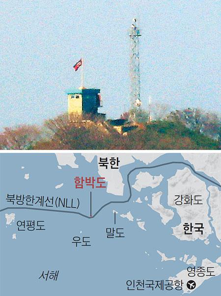지난달 24일 인천 강화군 서도면 말도리에서 바라본 함박도에 북한 인공기와 북한군이 설치한 철탑 레이더가 보인다.