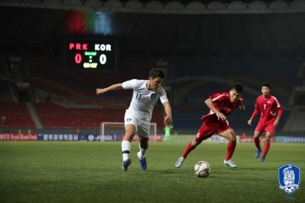 평양에서 진행된 카타르 월드컵 예선전 남북 축구 경기. 이날 경기는 무관중으로 진행됐다./대한축구협회