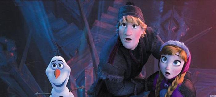 눈사람 괴물을 보고 놀라는 올라프(왼쪽부터), 크리스토프, 안나.