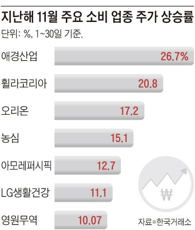 지난해 11월 주요 소비 업종 주가 상승률