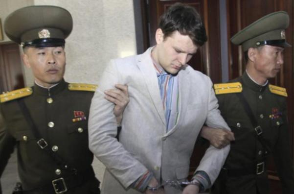 2016년 3월 북한군에 끌려 북한 법정에 나선 오토 웜비어의 모습. /뉴시스