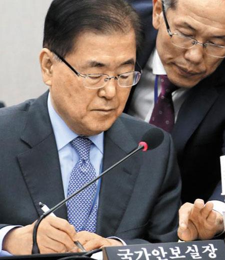 1일 국회 운영위 국정감사에 출석한 정의용(왼쪽) 국가안보실장과 김유근 1차장이 답변 내용을 상의하고 있다.