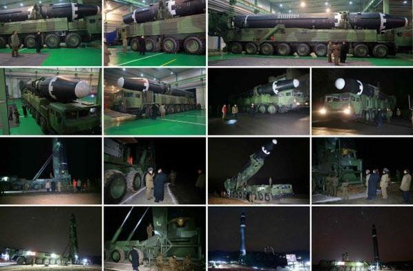 2017년 11월 29일 북한이 공개한 화성-15형과 발사 차량 사진. 화성-15형이 북한이 새로 개발한 '9축 자행발사대차'(바퀴 축이 9개인 새로운 이동식 발사차량)에 탑재된 뒤 수직으로 세워지고 있다. /연합뉴스