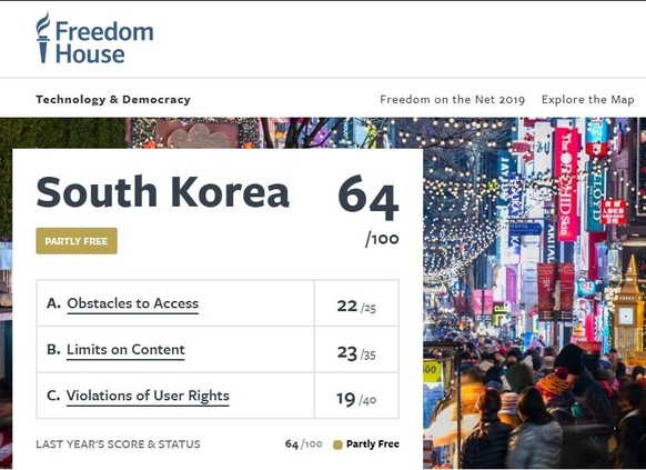한국의 '인터넷 자유' 64점 /프리덤하우스