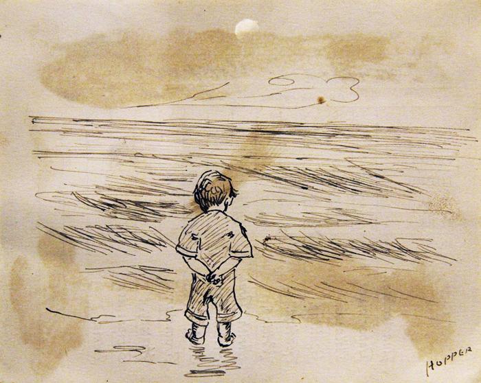에드워드 호퍼가 8세 때 그린 자화상 '바다를 바라보는 소년'.