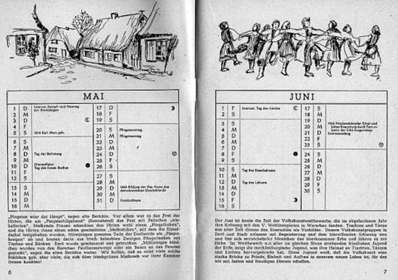 19세기 독일의 민중 달력. 날짜와 요일만이 아니라 날씨·건강·요리·격언 등 재미와 교훈을 함께 실었다.