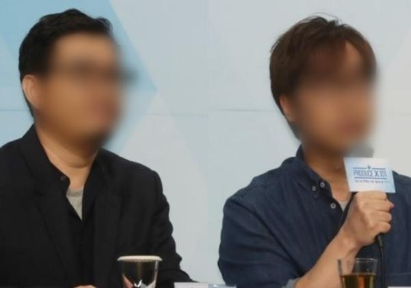 프로듀스 시리즈의 담당 PD인 안준영(오른쪽)씨와 CP 김준영씨의 모습. /연합뉴스