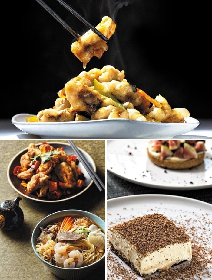 ⑥경기도 동탄 상해루 탕수육. ⑦차이린 중국냉면(앞)과 돼지갈비튀김. ⑧있을재 티라미수(앞)와 과일타르트.