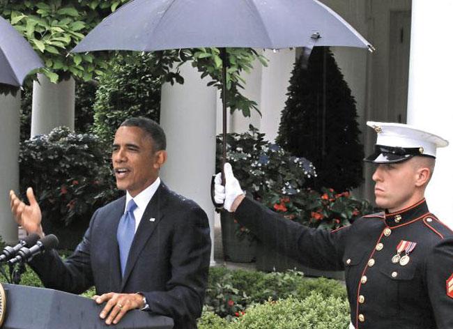 2013년 버락 오바마 대통령 기자회견 때 모습