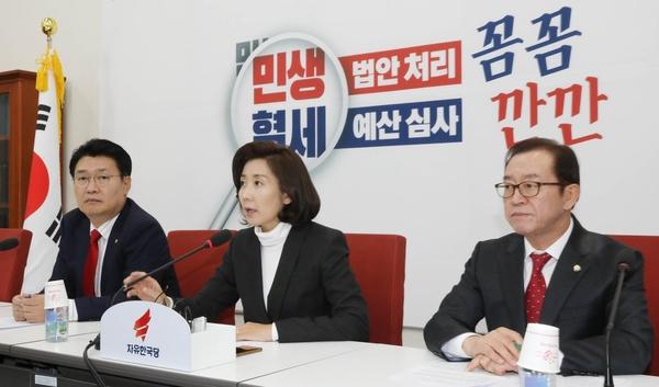 자유한국당 나경원(가운데) 원내대표가 10일 오후 국회에서 열린 예산정책과 관련한 기자간담회에서 발언하고 있다./뉴시스