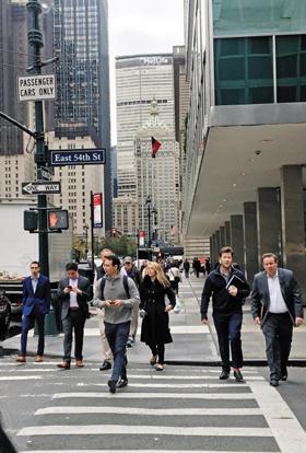 뉴욕의 횡단보도 사진