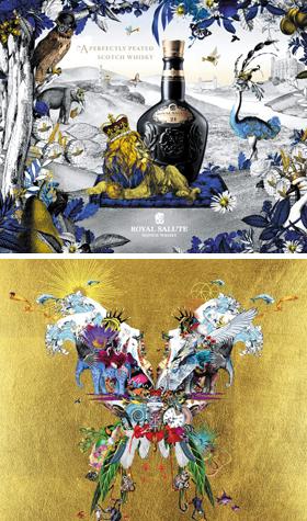 로얄 살루트와의 협업 작품(위). 아래는 영국 록밴드 콜드플레이의 재킷 디자인. 대담한 색채와 과감한 콜라주가 신선하다.
