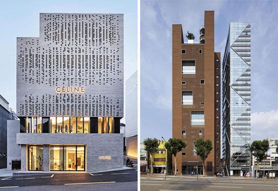 서울 강남 빌딩 시공 분야에서 압도적 실적을 보유한 이안알앤씨가 지은 강남구 청담동 명품 거리 '셀린느' 매장 건물(왼쪽)과 강남대로의 '원앤원' 빌딩.