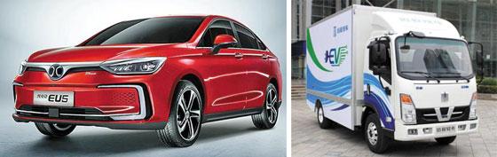 (왼쪽)베이징모터스 중형세단과 SUV (오른쪽)지리자동차 1t, 2.5t 전기 트럭