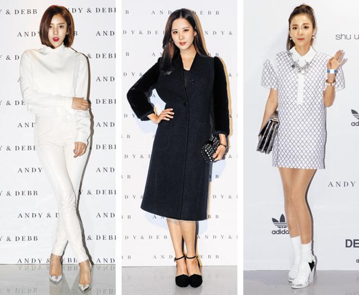 앤디앤뎁 의상을 입은 배우 겸 가수 손담비(왼쪽부터), 서현, 산다라 박.