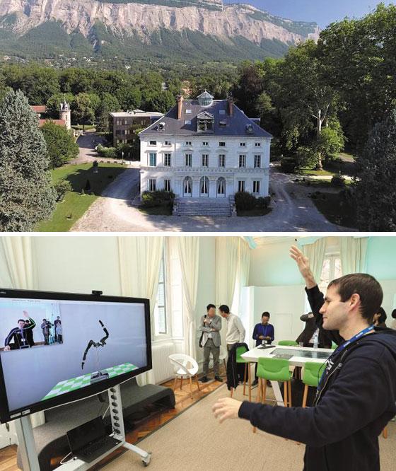 프랑스 알프스 산자락에 있는 소도시 그르노블에 있는 네이버랩스유럽의 전경(위). 아래 사진은 네이버랩스유럽의 한 연구원이 자신의 동작을 TV 화면 속 로봇이 똑같이 따라 하도록 하는 기술을 시연하는 장면. /네이버랩스유럽