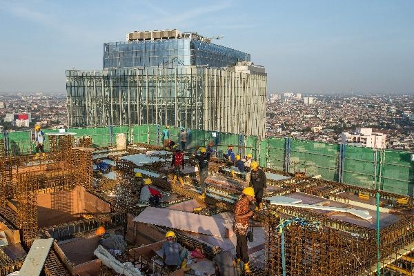 국내 한 대형 건설사의 인도네시아 자카르타 고층 아파트 건설 현장. /박상훈 기자