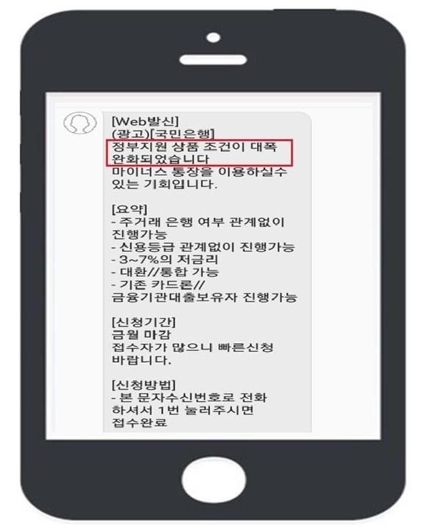 KB국민은행을 사칭한 불법대출 문자메시지 광고./금융감독원