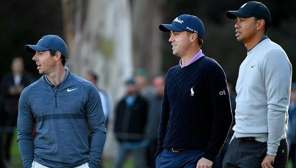 PGA 투어는 지난 10년간 최고의 활약을 펼친 선수로 로리 매킬로이(맨 왼쪽)를 선정했다. 저스틴 토머스(가운데)는 6위, 타이거 우즈는 5위였다./PGA 투어