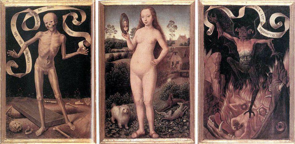 한스 멤링, 허영심, 1485년경, 나무판에 유채, 각각 22x15, 스트라스부르 미술관 소장.