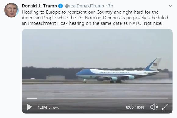 """""""우리나라(미국)를 대표하러, 미국인을 위해 열심히 싸우러 유럽으로 간다""""는 내용을 담은 도널드 트럼프 미국 대통령의 트위터. /트위터"""