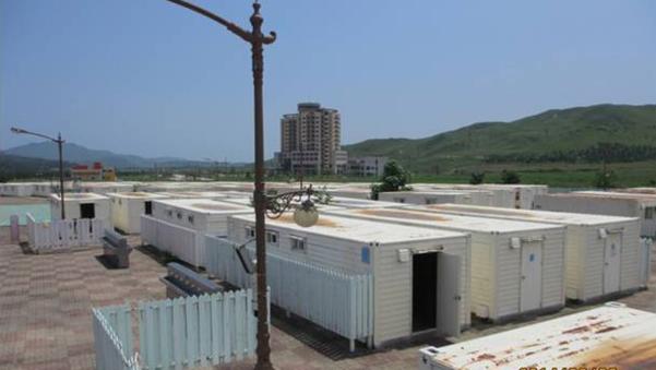 금강산 관광지구에 남측이 설치한 컨테이너형 숙소 '구룡빌리지'의 모습./통일부 제공
