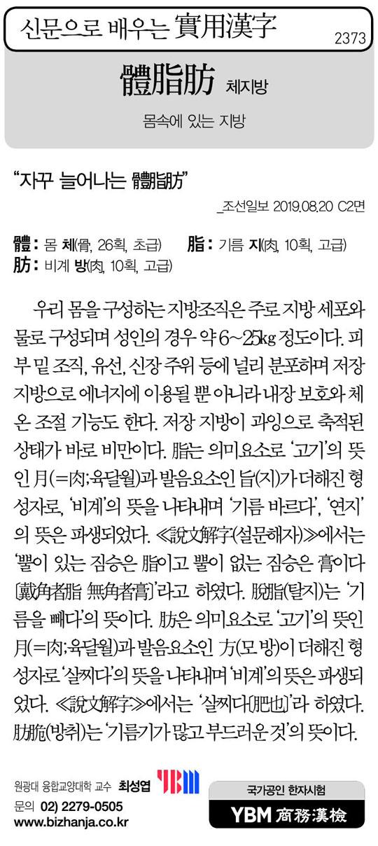 [신문으로 배우는 실용한자] 체지방(體脂肪)
