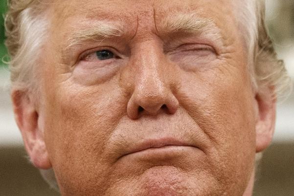 도널드 트럼프 미국 대통령이 지난 8월 20일 워싱턴 백악관 집무실에서 클라우스 이하나니스 루마니아 대통령과 회담하는 도중 기자들에게 윙크하고 있다./AP