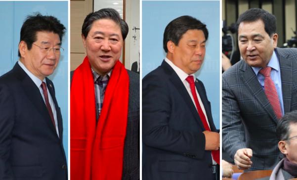자유한국당이 9일 오전 새 원내대표 선거를 한다. 왼쪽부터 강석호·유기준·김선동·심재철 의원/연합뉴스 취합